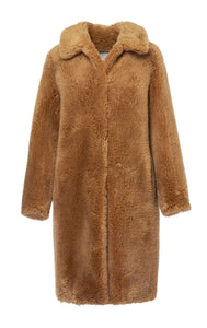 Womens Yves Salomon Meteo Teddy Coat Sable Wool Oversize Fit sz 36 US 4 NWT $930