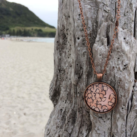 Coral Pink Pendant Necklace And Earring Set - Made in New Zealand
