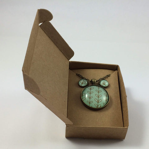 Teal Green Handmade Pendant Necklace and Earring Set