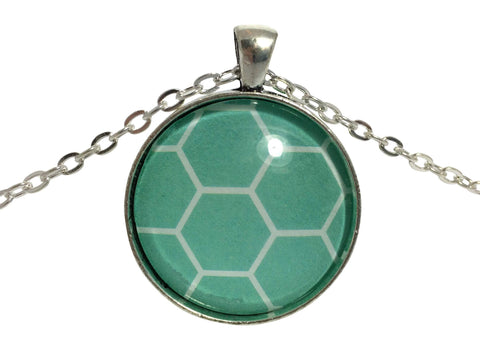Tempting Turquoise - Green Pendant Necklace In Silver Base Made in New Zealand