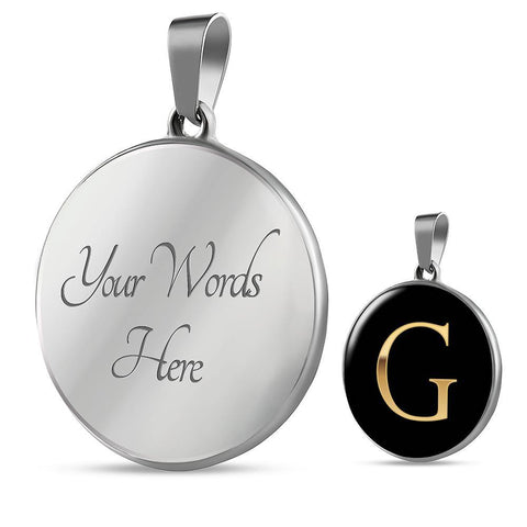 Initial Pendant Necklace G in Gold on Black Personalized in 18k Gold or Stainless Steel