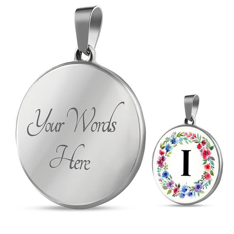 Letter I Pendant Necklace Initials Personalized in 18k Gold or Stainless Steel - Poppies And Thyme