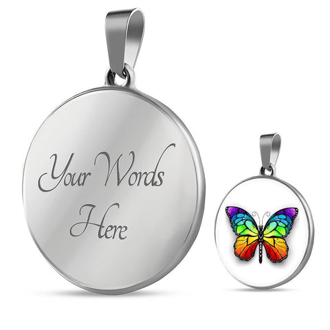 Colorful Butterfly Pendant Necklace in Gold or Stainless Steel with Free Shipping.