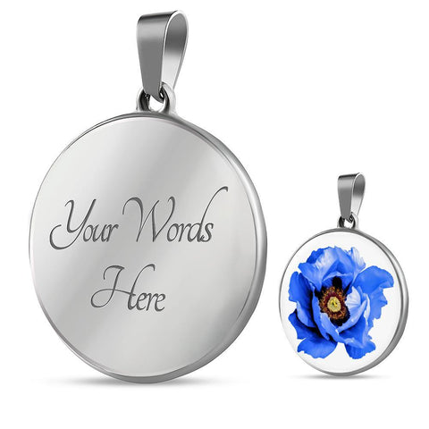 Blue Flower Clear Glass Pendant Necklace in Stainless Steel