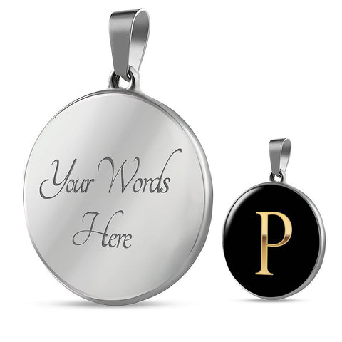 Initial Pendant Necklace P in Gold on Black Personalized in 18k Gold or Stainless Steel - Poppies And Thyme
