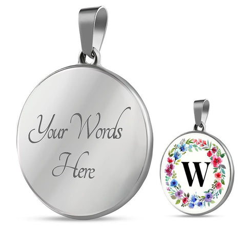 Letter W Pendant Necklace Initials Personalized in 18k Gold or Stainless Steel - Poppies And Thyme