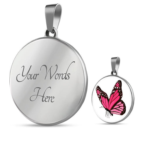 Pink Butterfly Pendant Necklace in Gold or Stainless Steel with Free Shipping