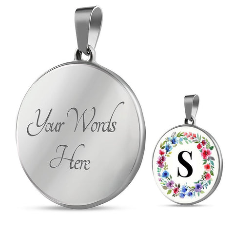 Letter S Pendant Necklace Initials Personalized with