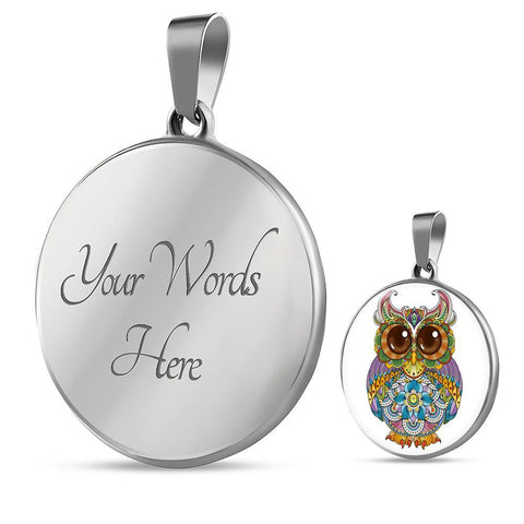 Bright Owl Pendant Necklace in 18k Gold or SS