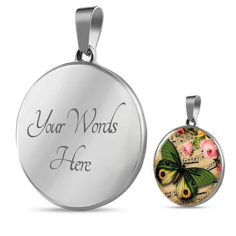 Cute Butterfly and Floral Pendant Necklace - Poppies And Thyme