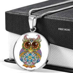 Bright Owl Pendant Necklace in Stainless Steel