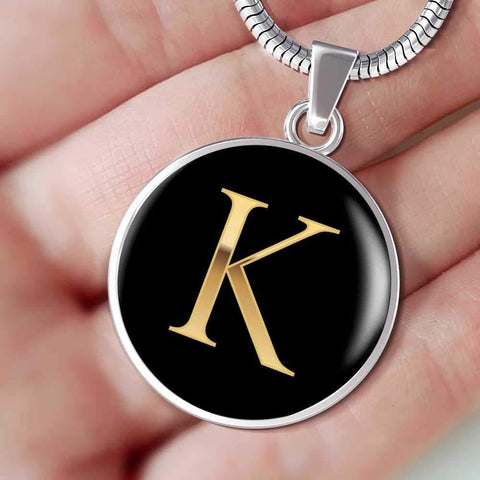 Initial Pendant Necklace K in Gold on Black Personalized in 18k Gold or Stainless Steel - Poppies And Thyme