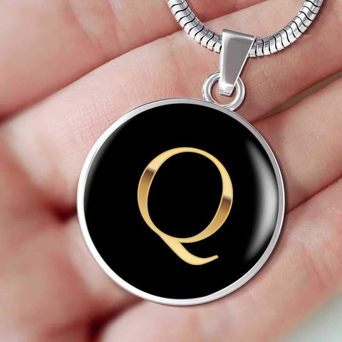 Initial Pendant Necklace Q in Gold on Black Personalized in 18k Gold or Stainless Steel - Poppies And Thyme