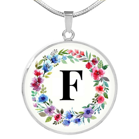 Letter F Pendant Necklace Initials Personalized in 18k Gold or Stainless Steel - Poppies And Thyme
