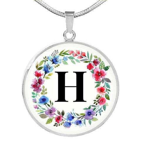 Letter H Pendant Necklace Initials Personalized in 18k Gold or Stainless Steel - Poppies And Thyme