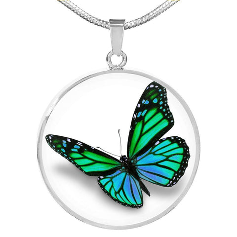 Pretty Green Butterfly Pendant Necklace