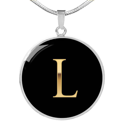 Initial Pendant Necklace L in Gold on Black Personalized in 18k Gold or Stainless Steel - Poppies And Thyme