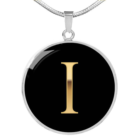 Initial Pendant Necklace I in Gold on Black Personalized in 18k Gold or Stainless Steel - Poppies And Thyme