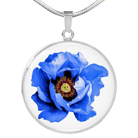 Blue Flower Clear Glass Pendant Necklace in SS