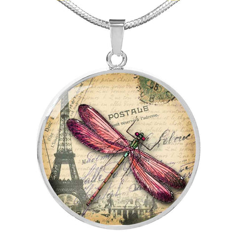 Dragonfly Pendant Necklace in Stainless Steel and 18k Gold Plated