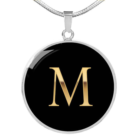 Initial Pendant Necklace M in Gold on Black Personalized in 18k Gold or Stainless Steel