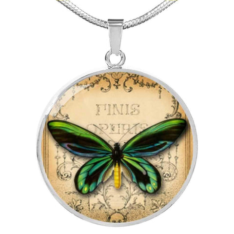 Butterfly Green Pendant Necklace - Poppies And Thyme