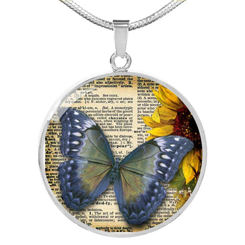 Vintage Blue Butterfly Pendant Necklace