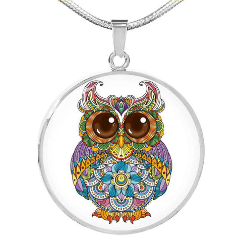 Bright Owl Pendant Necklace in 18k Gold or Stainless Steel - Poppies And Thyme
