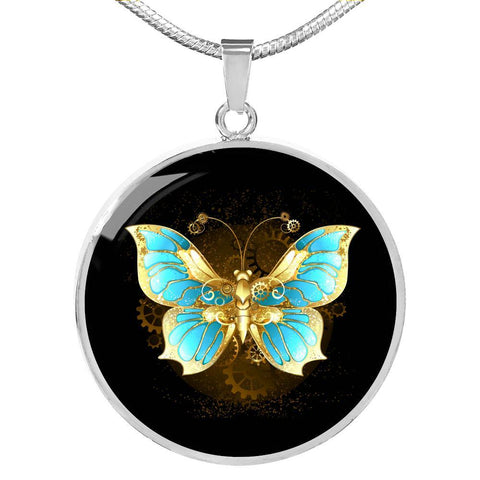 Butterfly Pendant Necklace Dark in Gold