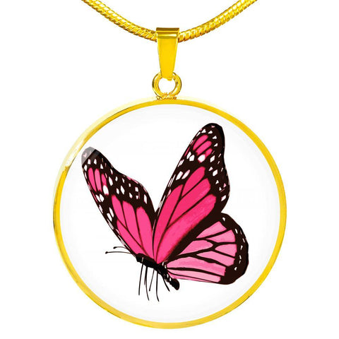 Pink Butterfly Pendant Necklace in 18k Gold or Stainless Steel