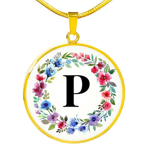 Letter P Pendant Necklace Initials Personalized - Poppies And Thyme