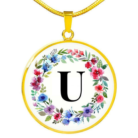 Letter U Pendant Necklace Initials Personalized - Poppies And Thyme