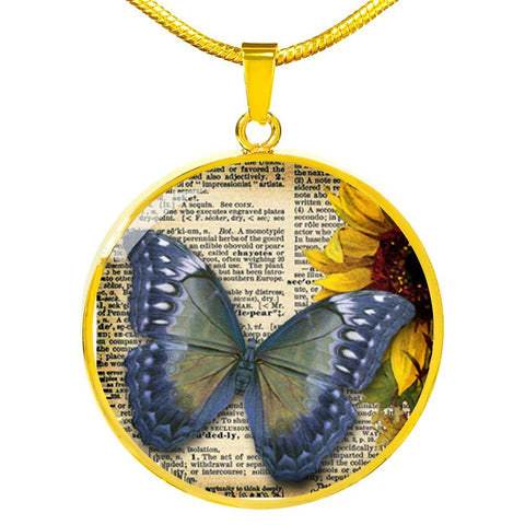 Blue Butterfly Pendant Necklace Engraved Gold or Stainless Steel