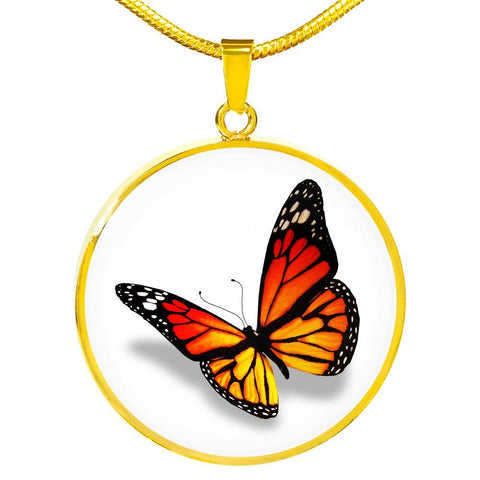 Monarch Butterfly Necklace in Natural Bright Orange with Free Shipping