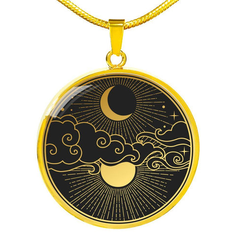 Moon and Stars Pendant Necklace Jewelry Personalized in 18k Gold or Stainless Steel