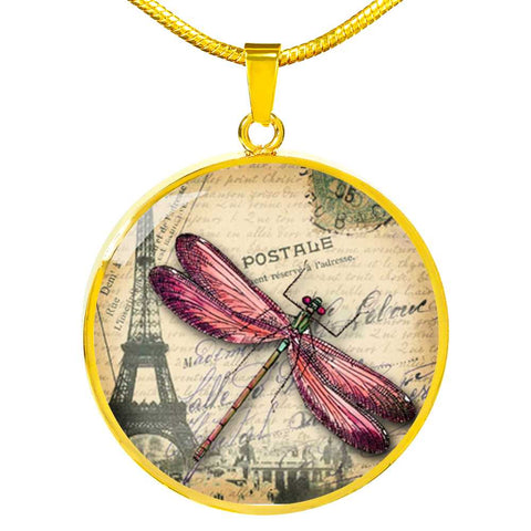 Pink Dragonfly Pendant Necklace in Stainless Steel or 18k Gold Plated