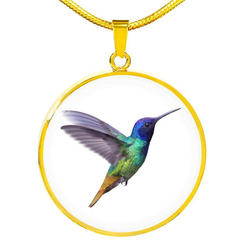 Humming Bird Pendant Necklace Personalized in 18k Gold or Stainless Steel