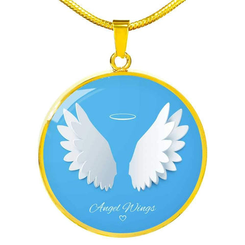 Angel Wings Pendant Memorial Pendant Necklace in Gold or Stainless Steel - Poppies And Thyme