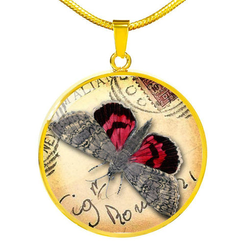Vintage Butterfly in Red Pendant Necklace with Free Shipping