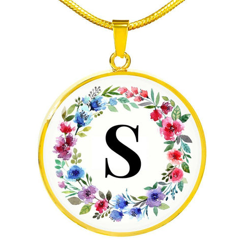Letter S Pendant Necklace Initials Personalized with - Poppies And Thyme