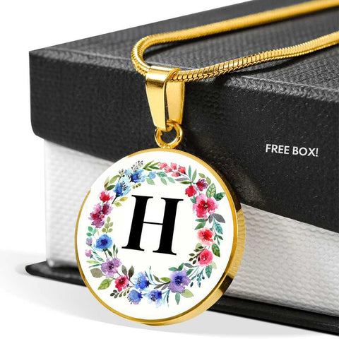 Letter H Pendant Necklace Initials Personalized in 18k Gold or Stainless Steel