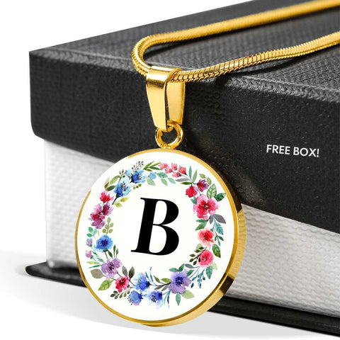 Letter B Pendant Necklace Initials Personalized in 18k Gold or Stainless Steel - Poppies And Thyme