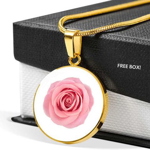 Pink Rose Pendant Necklace in 18k Gold or Stainless Steel