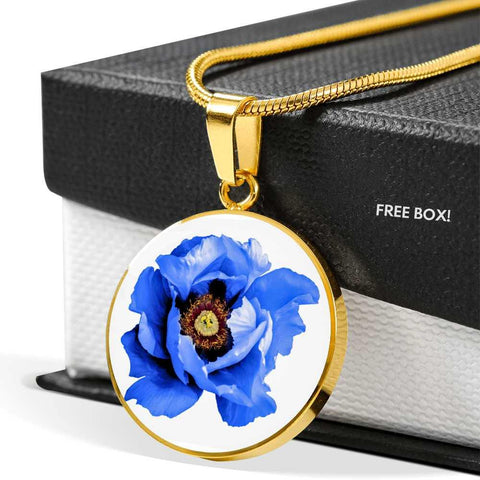 Blue Flower Clear Glass Pendant Necklace in Gold