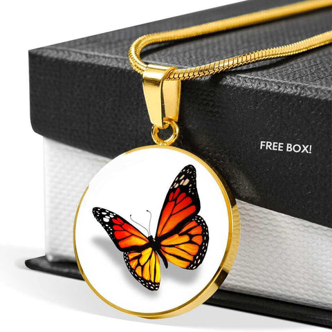 Monarch Butterfly Necklace in Natural Bright Orange in 18k Gold or Stainless Steel