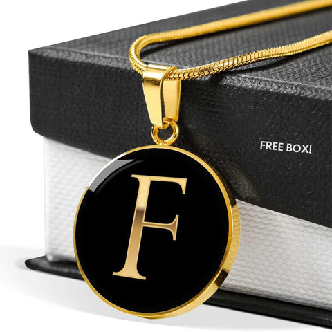 Initial Pendant Necklace F in Gold on Black Personalized in 18k Gold or Stainless Steel