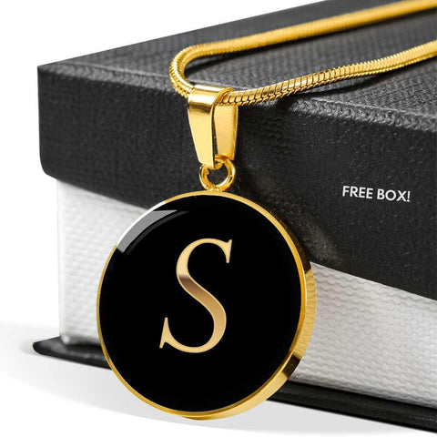 Initial Pendant Necklace S in Gold on Black Personalized in 18k Gold or Stainless Steel
