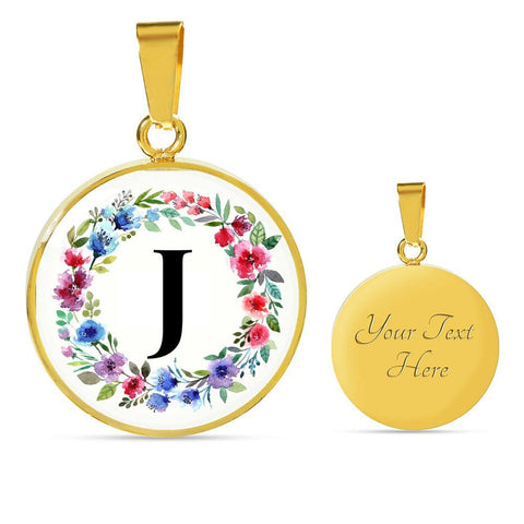 Letter J Pendant Necklace Initials Personalized in 18k Gold or Stainless Steel - Poppies And Thyme