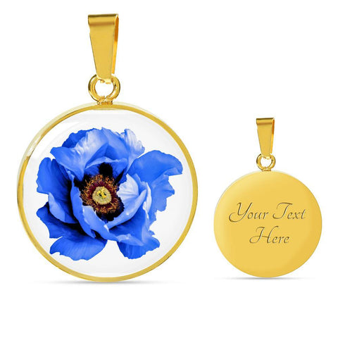 Blue Flower Clear Glass Pendant Necklace in Gold or Stainless Steel