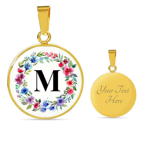 Letter M Pendant Necklace Initials Personalized - Poppies And Thyme